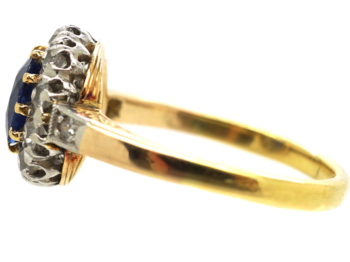 Edwardian 18ct Gold, Sapphire & Diamond Oval Cluster Ring with Diamond Shoulders