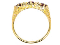 Edwardian 18ct Gold, Diamond & Ruby Five Stone Carved Half Hoop Ring