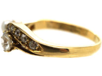 Edwardian 18ct Gold, Diamond & Natural Pearl Crossover Ring