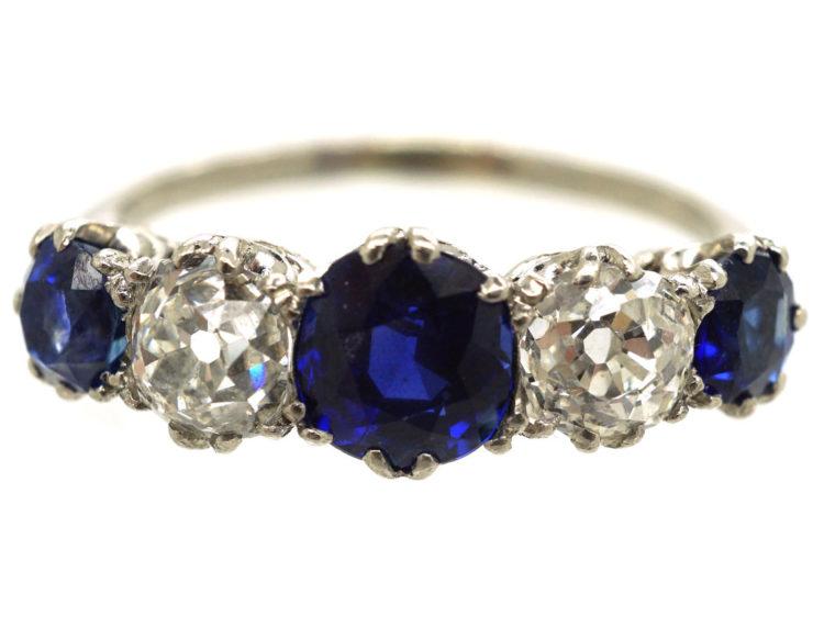 Art Deco Platinum, Sapphire & Diamond Five Stone Ring