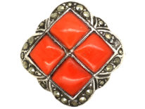 Art Deco Gold & Silver, Coral & Marcasite Ring