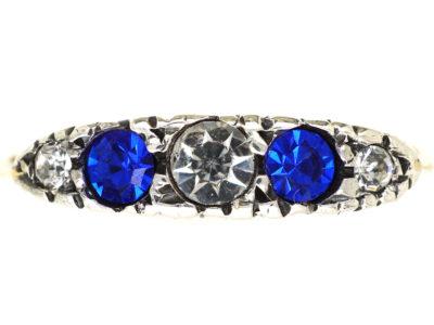 Edwardian 9ct Gold Blue & White Paste Ring