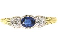Art Deco 14ct Gold, Sapphire & Diamond Three Stone Ring
