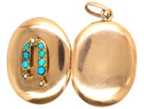 Edwardian 15ct Gold, Natural Pearl & Turquoise Oval Locket