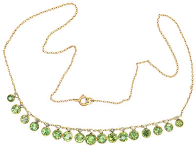 Edwardian 15ct Gold, Diamond & Peridot Necklace