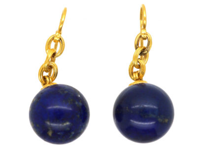 French 18ct Gold & Lapis Lazuli Earrings