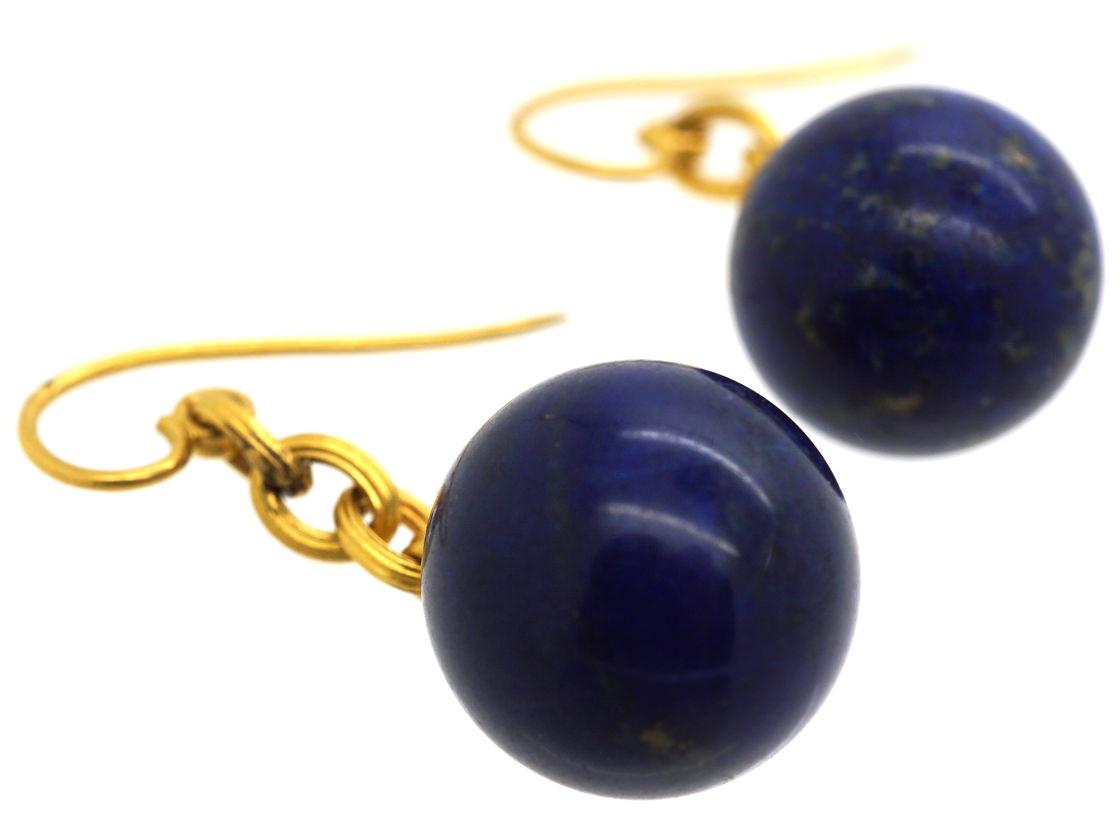 French 18ct Gold & Lapis Lazuli Earrings