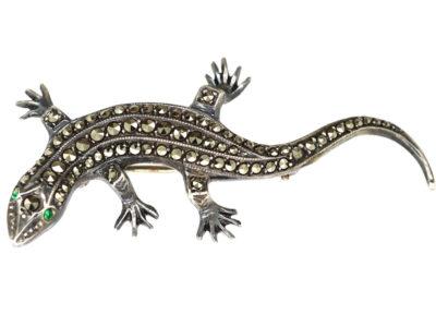 Art Deco Silver & Marcasite Lizard Brooch
