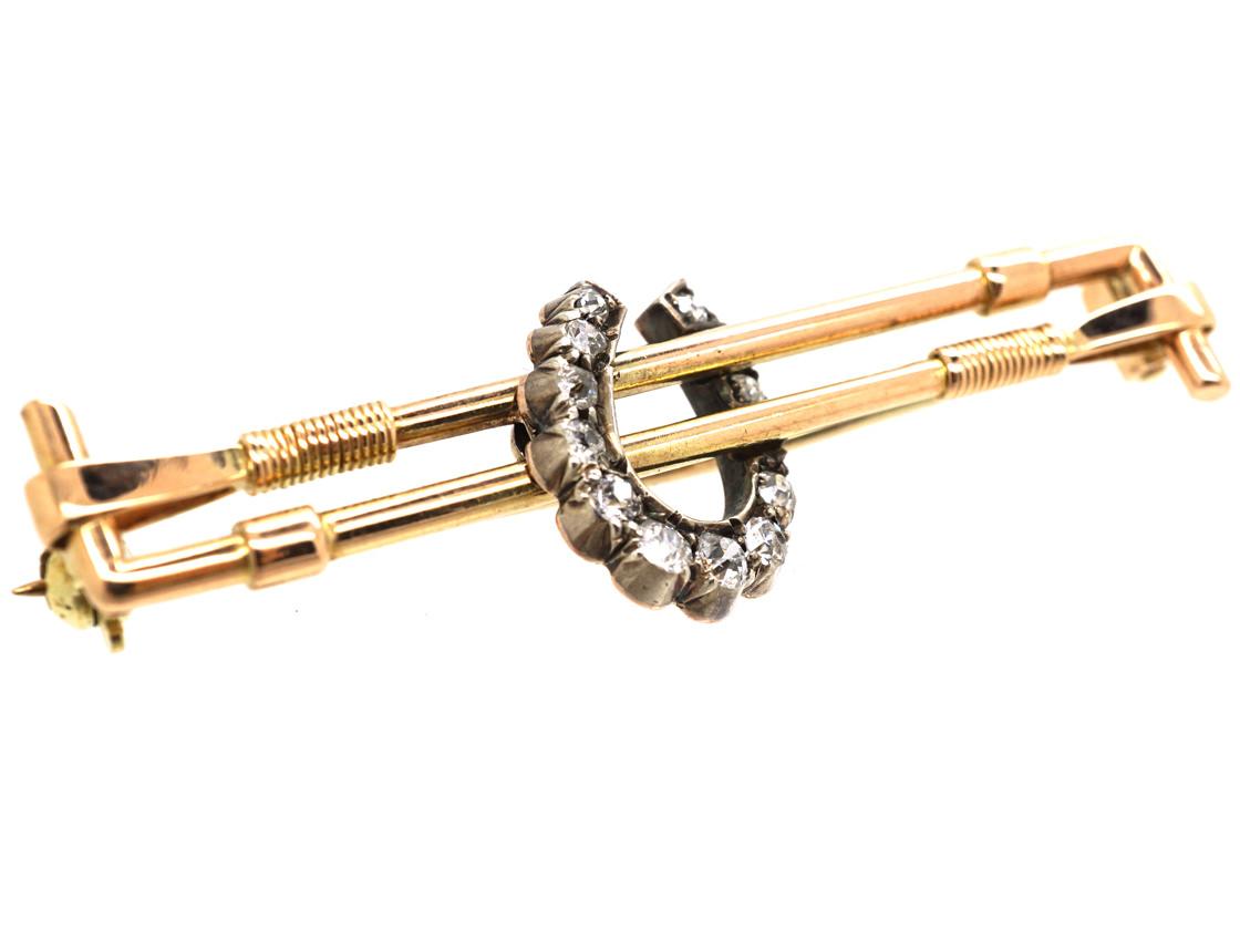 Edwardian 15ct Gold & Diamond Horseshoe & Whips Brooch