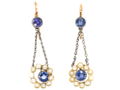 Edwardian 15ct Gold & Platinum, Sapphire & Natural Pearl Drop Earrings
