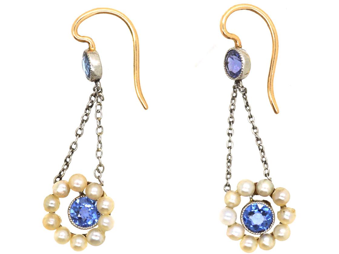 Edwardian 15ct Gold & Platinum, Sapphire & Natural Pearl Drop Earrings