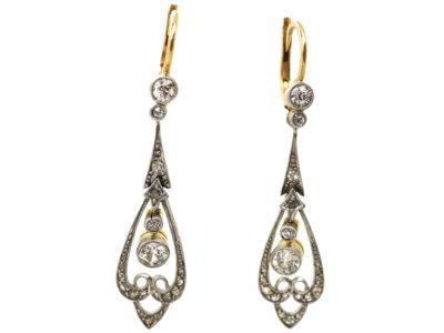 Edwardian 15ct Gold & Platinum, Diamond Drop Earrings