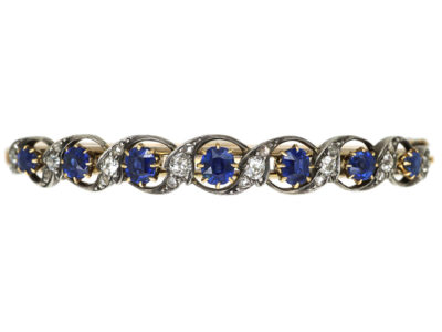 Edwardian 15ct Gold, Sapphire & Diamond Bangle