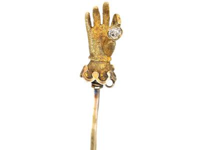 Georgian 18ct Gold Hand Tie Pin set with a Diamond