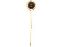 Victorian 15ct Gold, White Enamel & Cabochon Garnet Tie Pin