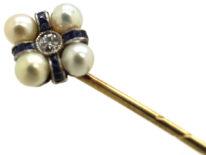 Art Deco Sapphire, Diamond & Natural Pearl Tie Pin