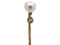 Art Deco Natural Pearl & Diamond Tie Pin