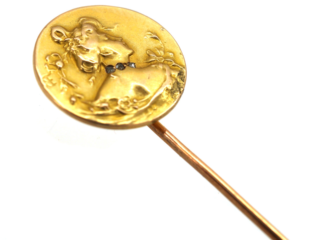 Art Nouveau 18ct Gold & Diamond Tie Pin of a Lady by Comte Prosper d' Epinay