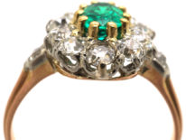 French 18ct Belle Epoque Emerald & Diamond Cluster Ring