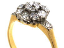 Edwardian 18ct Gold, Diamond Cluster Ring with Diamond Set Shoulders