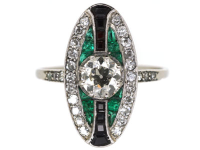 Art Deco Platinum, Emerald, Onyx & Diamond Oval Ring