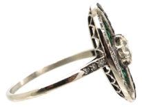 Art Deco Platinum, Emerald, Onyx & Diamond Oval Ring