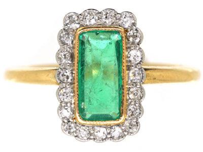 Art Deco 18ct Gold & Platinum, Emerald & Diamond Rectangular Ring