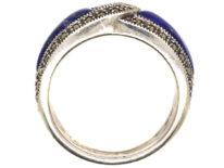 Silver, Lapis Lazuli & Marcasite Intertwined Design Ring