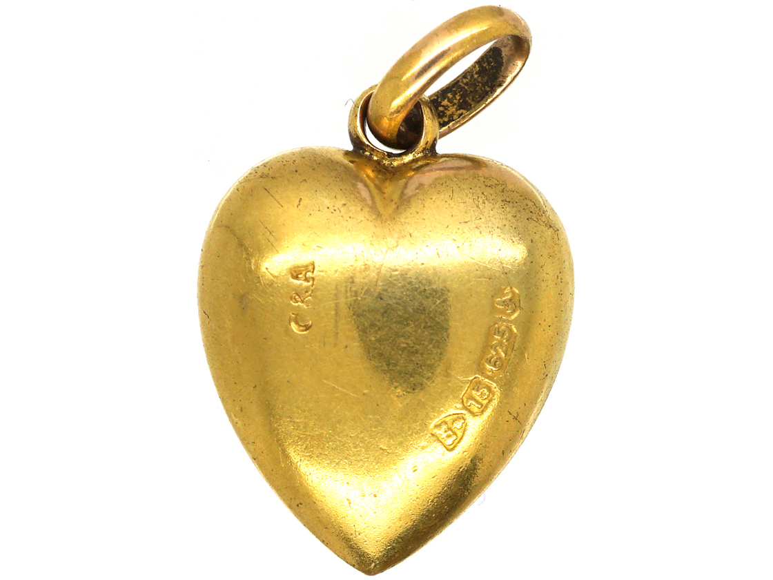 Edwardian 15ct Gold Heart Shaped Pendant set with a Turquoise & Rose Diamonds