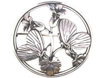 Mid Century Silver Moonlight Blossom Brooch by Arno Malinowski for Georg Jensen
