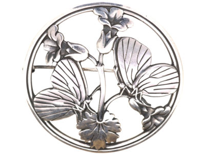Silver Moonlight Blossom Brooch by Arno Malinowski for George Jensen