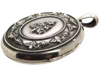 Victorian Large Oval Silver Locket with Vine Leaf & Grape design