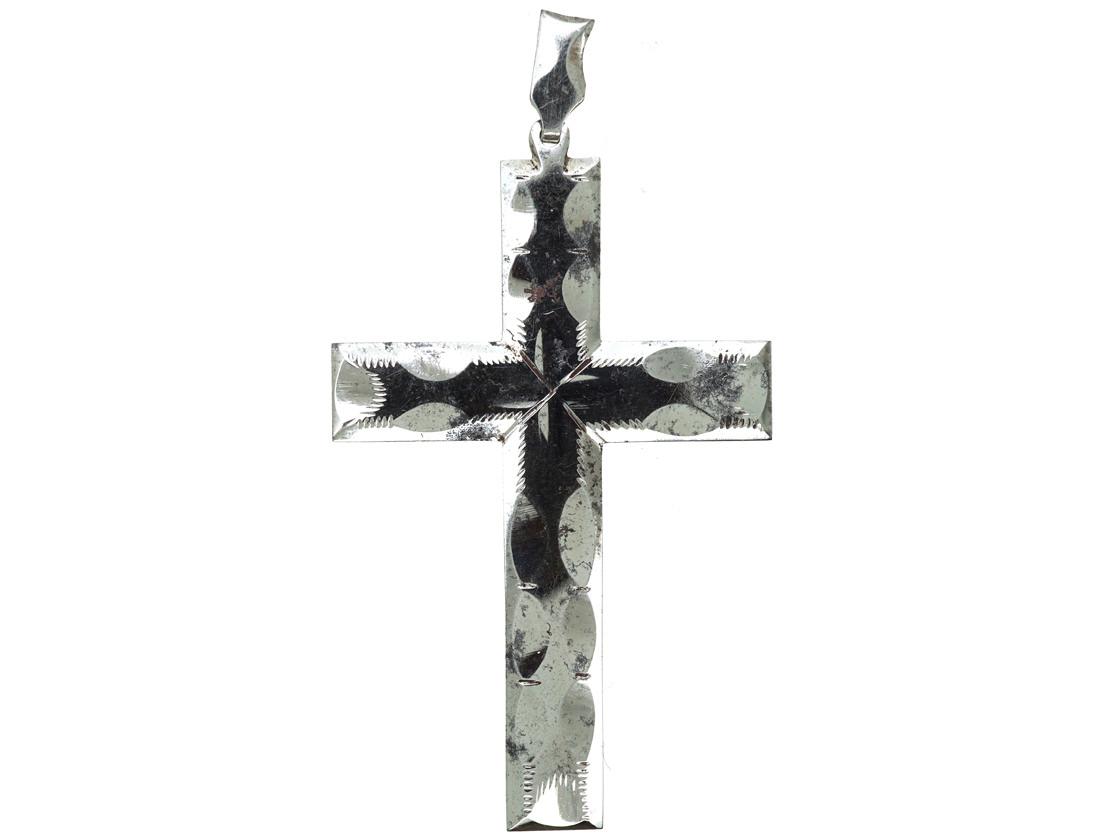 Georgian Cut Steel Cross Pendant