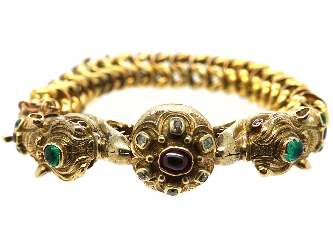 Georgian 18ct Gold Dragon's Heads Bracelet set with Emeralds, Rubies & Diamonds