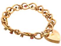 Edwardian 15ct Gold Ruby & Diamond Figure of Eight Bracelet