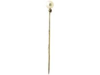 Edwardian Diamond & Pearl Tie Pin