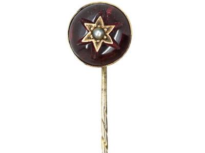 Victorian Cabochon Garnet & Natural Split Pearl Tie Pin
