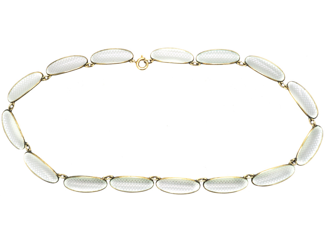Silver Gilt & White Enamel Necklace by David Andersen