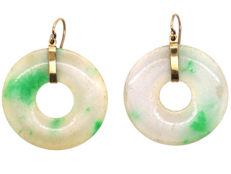 Art Deco Natural Jade & Gold Round Earrings