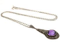 Art Deco Silver, Marcasite & Amethyst Pendant on Silver Chain