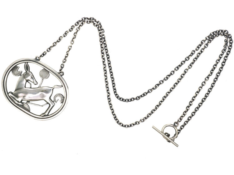 Silver Pendant of Kneeling Fawn on Silver Chain by Arno Malinowski for Georg Jensen