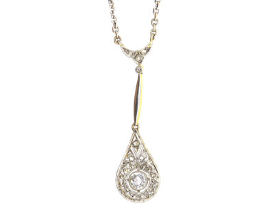 Art Deco 18ct White & Yellow Gold Pendant on 18ct White Gold Chain