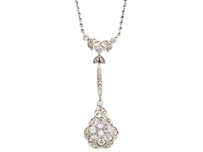 Art Deco 18ct White Gold & Diamond Flower Pendant on 18ct White Gold Chain
