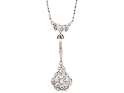 Art Deco 18ct White Gold & Diamond Flower Pendant on 18ct White Gold Chain