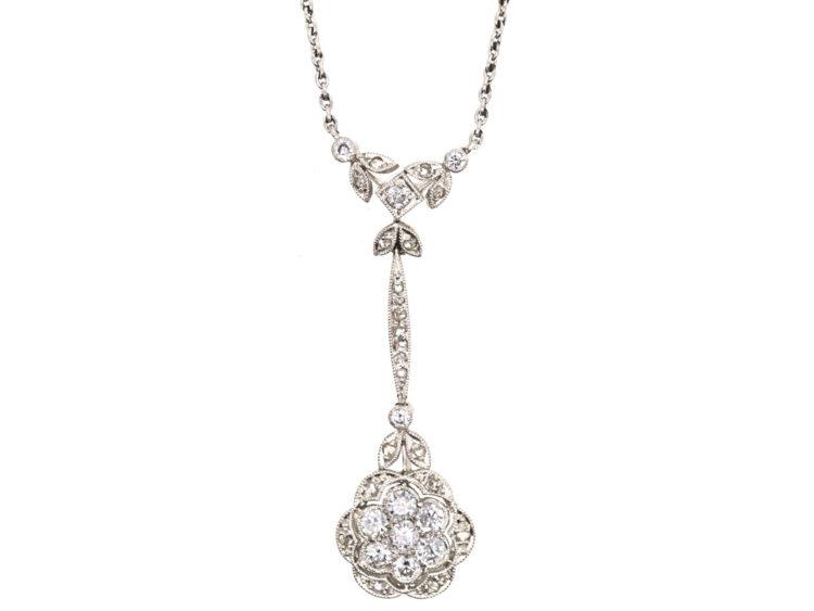 0d32f2d97ade9d Art Deco 18ct White Gold & Diamond Flower Pendant on 18ct White Gold ...