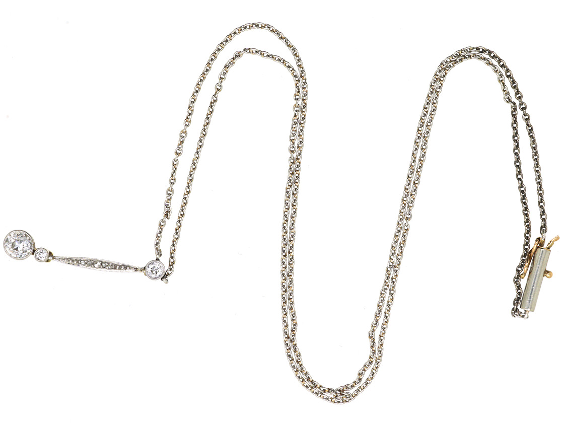 Art Deco Diamond Drop Pendant on Chain