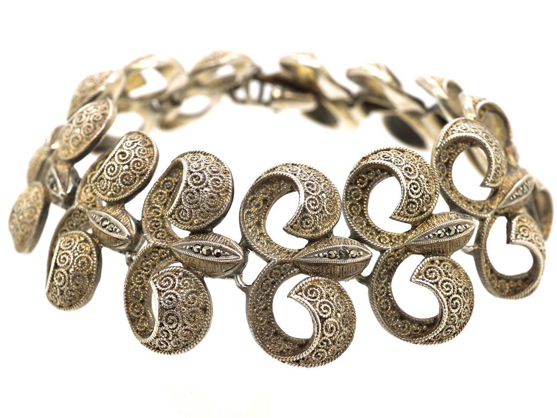 Art Deco Silver & Marcasite Bracelet by Theodor Fahrner