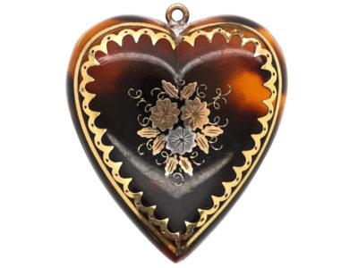 Victorian Tortoiseshell Pique Heart Pendant with Flowers Motif
