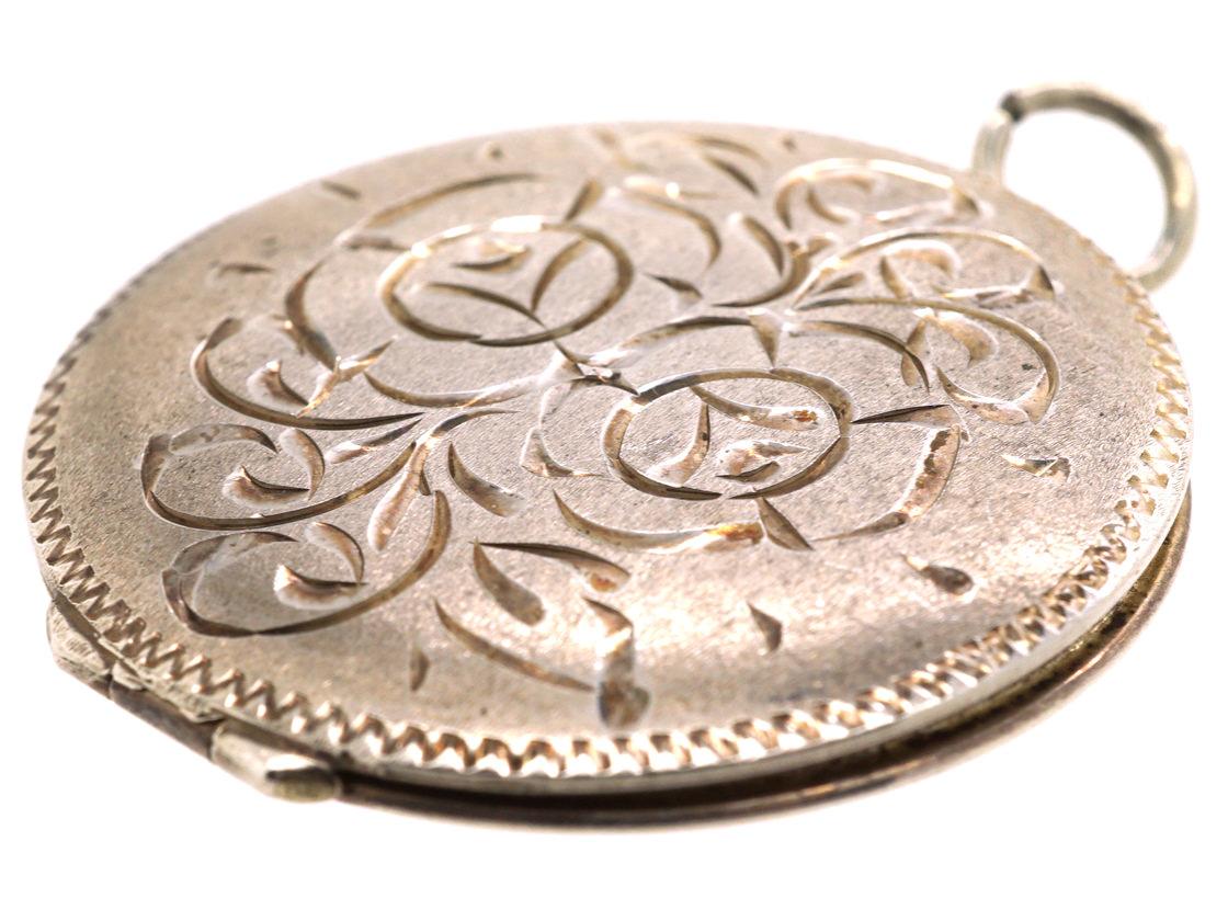 Round Silver Locket with Rose Design