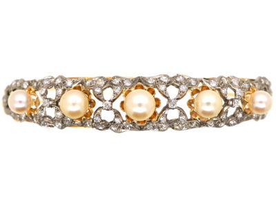 15ct Gold, Diamond & Pearl Bangle